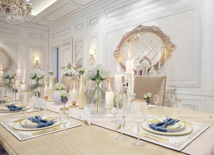 Hình 9: Cách bài trí, sắp xếp của bàn ăn dành cho phong cách thiết kế cổ điển được chú trọng tỉ mỉ.