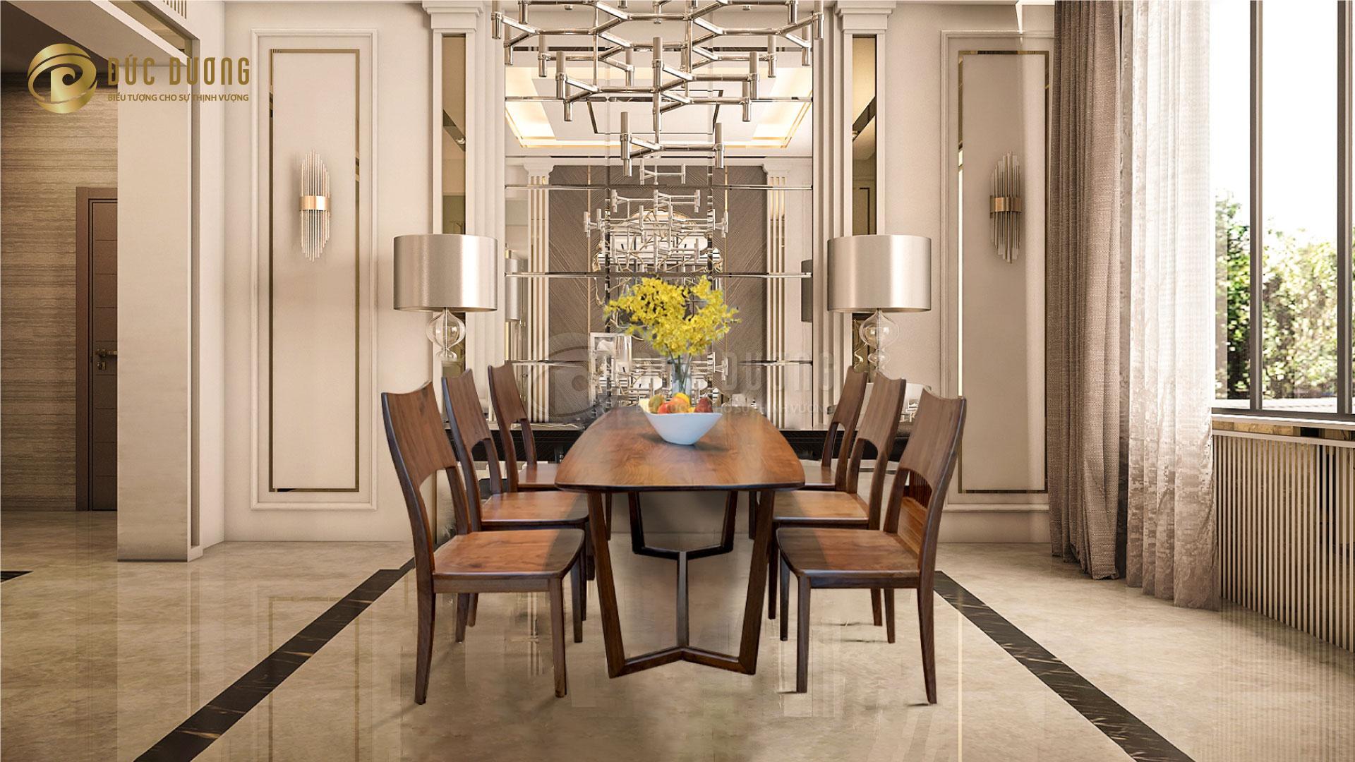 Bàn ghế ăn gỗ óc chó Dior