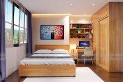 Thiết kế nội thất phòng ngủ gỗ sồi Mỹ nhà anh Hoàn – Chung cư Ngoại giao đoàn