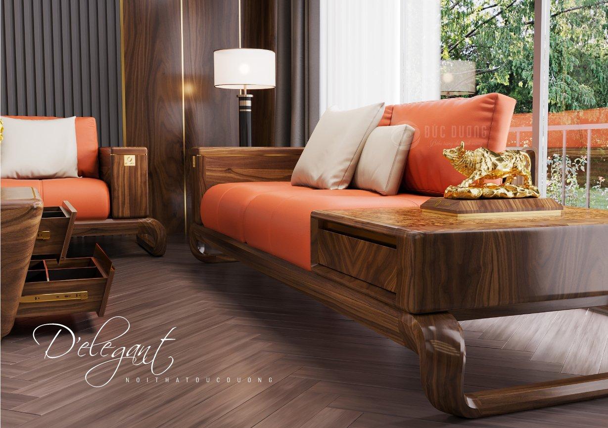 Sofa gỗ óc chó D'Elegance